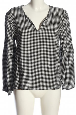 Zara Basic Langarm-Bluse weiß-schwarz Karomuster Casual-Look