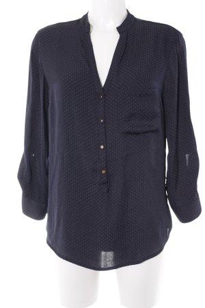 Zara Basic Langarm-Bluse dunkelblau-graublau Punktemuster Casual-Look