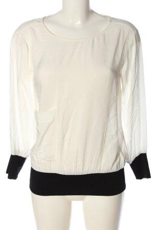 Zara Basic Langarm-Bluse wollweiß-schwarz Casual-Look
