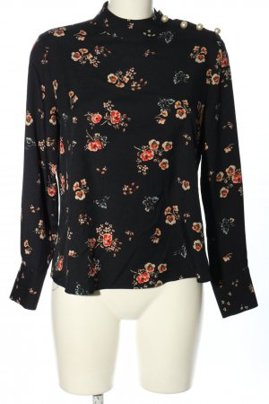 Zara Basic Langarm-Bluse Allover-Druck Elegant
