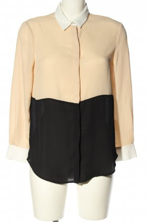 Zara Basic Langarm-Bluse creme-schwarz Business-Look