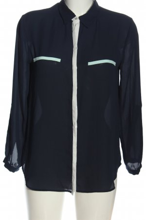 Zara Basic Langarm-Bluse blau-weiß Casual-Look