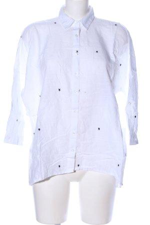 Zara Basic Langarm-Bluse weiß-schwarz Allover-Druck Casual-Look