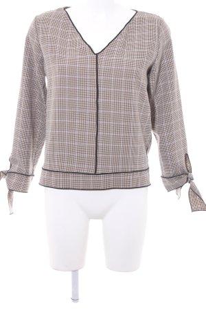 Zara Basic Langarm-Bluse Hahnentrittmuster Business-Look
