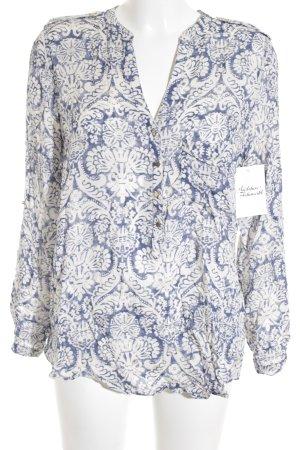 Zara Basic Langarm-Bluse kornblumenblau-wollweiß Blumenmuster