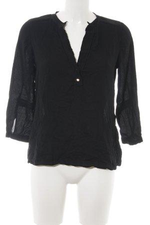 Zara Basic Langarm-Bluse schwarz Street-Fashion-Look