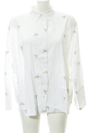 Zara Basic Langarm-Bluse weiß-goldfarben abstraktes Muster Casual-Look