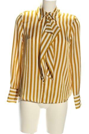 Zara Basic Langarm-Bluse wollweiß-hellorange Streifenmuster Elegant
