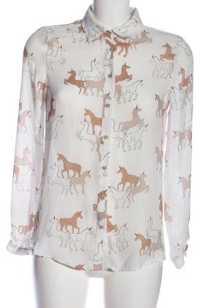 Zara Basic Langarmhemd weiß-braun Allover-Druck Casual-Look
