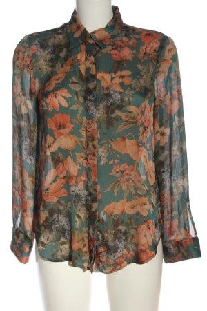 Zara Basic Langarmhemd khaki-hellorange Allover-Druck Casual-Look