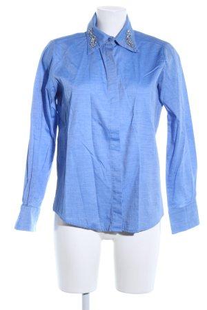 Zara Basic Langarmhemd blau meliert Business-Look