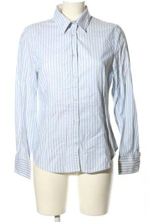 Zara Basic Langarmhemd weiß-blau Allover-Druck Business-Look