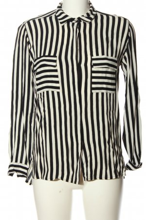 Zara Basic Langarmhemd schwarz-weiß Streifenmuster Casual-Look