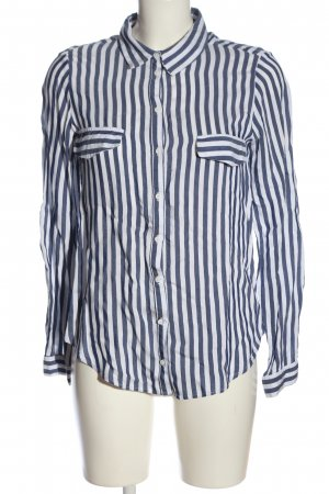 Zara Basic Langarmhemd blau-weiß Allover-Druck Business-Look
