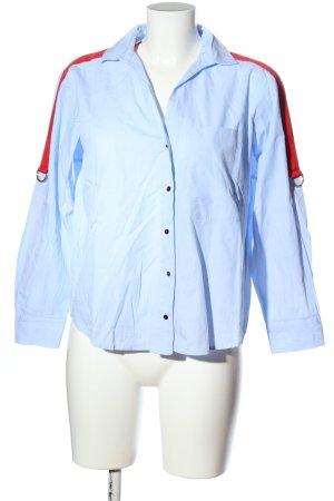 Zara Basic Langarmhemd blau-rot Casual-Look
