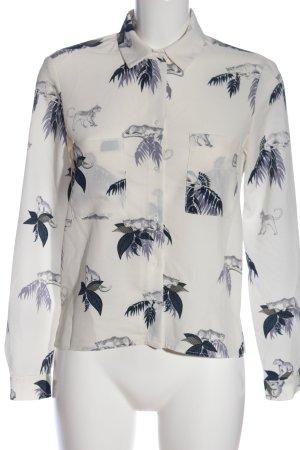 Zara Basic Langarmhemd weiß-blau Allover-Druck Casual-Look