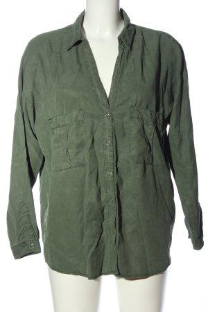 Zara Basic Langarmhemd khaki Casual-Look