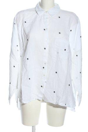 Zara Basic Langarmhemd weiß-schwarz Punktemuster Casual-Look