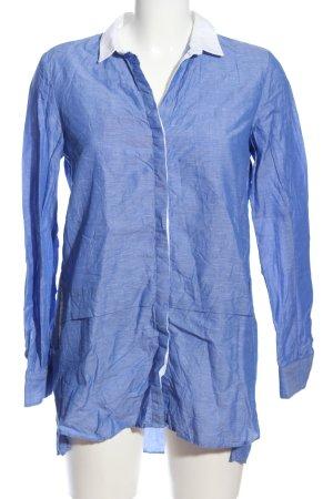 Zara Basic Langarmhemd blau-weiß Business-Look