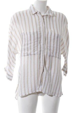 Zara Basic Langarmhemd wollweiß-braun Streifenmuster Casual-Look