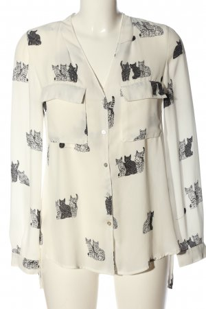 Zara Basic Langarmhemd wollweiß-schwarz Allover-Druck Casual-Look