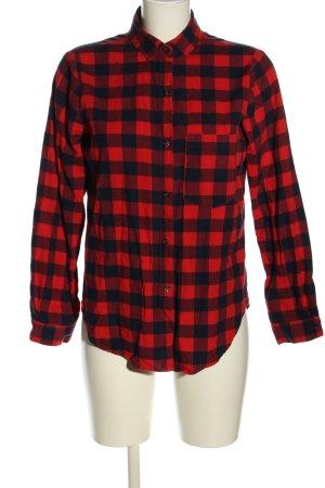 Zara Basic Langarmhemd rot-schwarz Karomuster Casual-Look
