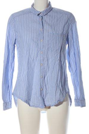 Zara Basic Langarmhemd blau Streifenmuster Elegant