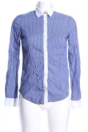 Zara Basic Camicia a maniche lunghe bianco-blu motivo a righe stile casual