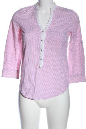 Zara Basic Langarmhemd weiß-pink Streifenmuster Casual-Look