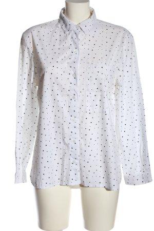 Zara Basic Langarmhemd weiß-schwarz Allover-Druck Business-Look