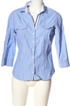 Zara Basic Langarmhemd blau-weiß Streifenmuster Casual-Look