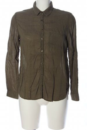 Zara Basic Langarmhemd braun Business-Look