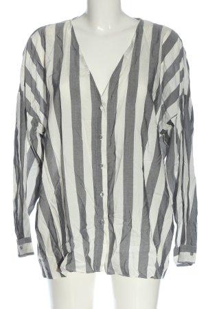 Zara Basic Langarmhemd wollweiß-hellgrau Streifenmuster Casual-Look