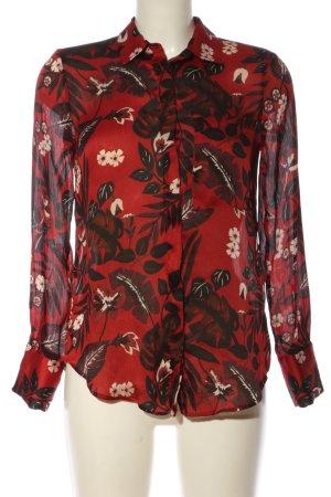 Zara Basic Langarmhemd rot-schwarz Allover-Druck Business-Look