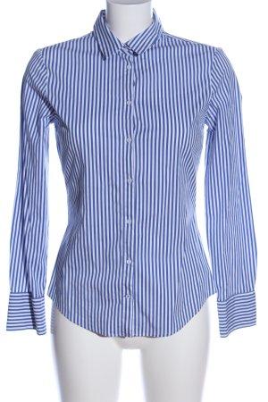 Zara Basic Langarmhemd blau-weiß Allover-Druck Casual-Look