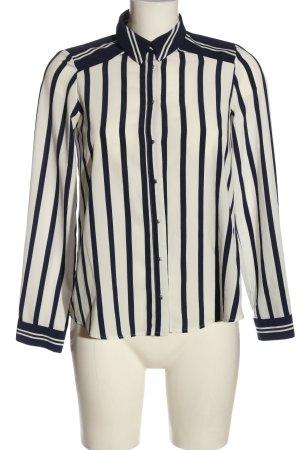 Zara Basic Langarmhemd wollweiß-blau Streifenmuster Casual-Look