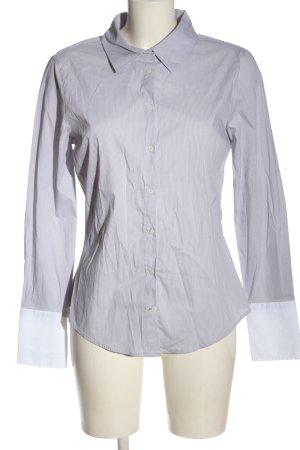 Zara Basic Langarmhemd hellgrau-weiß Streifenmuster Casual-Look