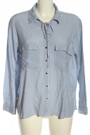 Zara Basic Langarmhemd weiß-blau Streifenmuster Casual-Look