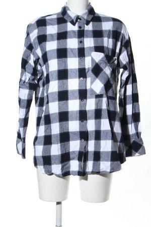 Zara Basic Camisa de manga larga negro-blanco estampado a cuadros look casual