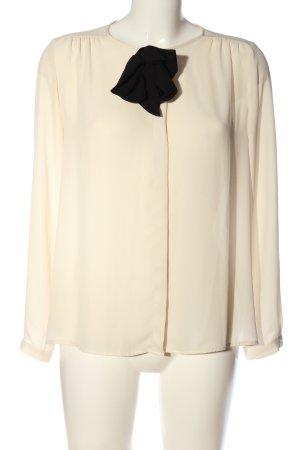 Zara Basic Langarmhemd creme-schwarz Business-Look