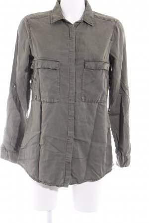 Zara Basic Langarmhemd grüngrau Casual-Look