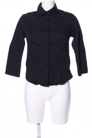 Zara Basic Langarmhemd schwarz-hellgrau Streifenmuster Business-Look