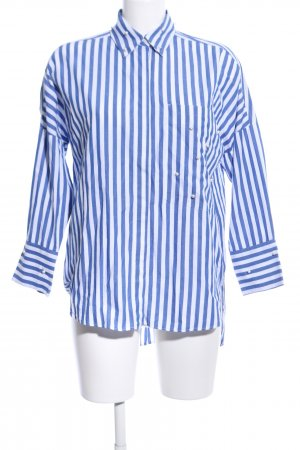 Zara Basic Langarmhemd weiß-blau Streifenmuster Business-Look