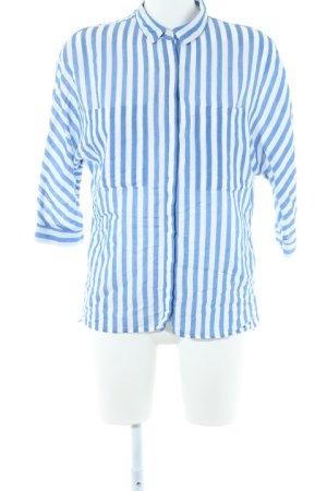Zara Basic Langarmhemd weiß-kornblumenblau Casual-Look