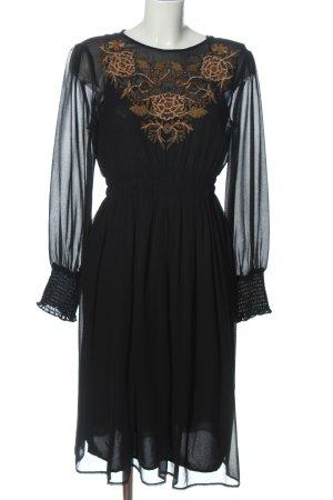 Zara Basic Langarmkleid schwarz Blumenmuster Elegant