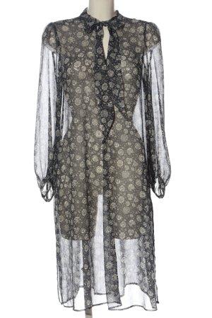 Zara Basic Langarmkleid schwarz Allover-Druck klassischer Stil