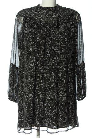 Zara Basic Langarmkleid schwarz-weiß Allover-Druck Casual-Look