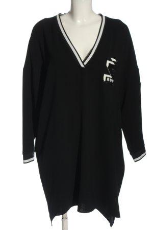 Zara Basic Langarmkleid schwarz-weiß Motivdruck Elegant
