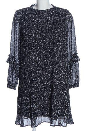 Zara Basic Langarmkleid schwarz-weiß abstraktes Muster Casual-Look