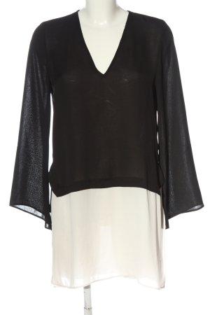 Zara Basic Langarmkleid schwarz-weiß Elegant